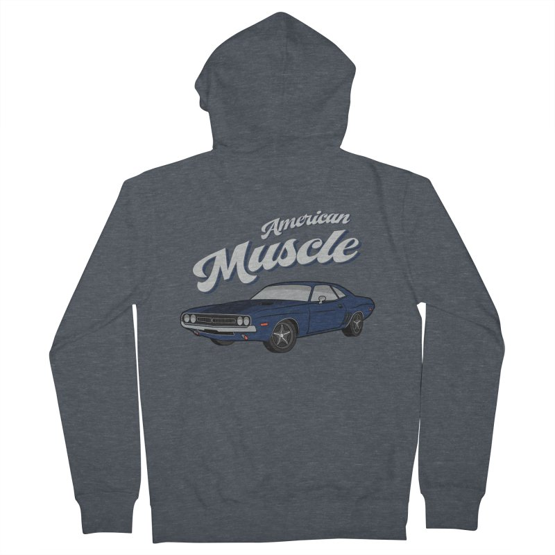 American Muscle Car 60s 70s Vintage Men's French Terry Zip-Up Hoody by MadeByBono