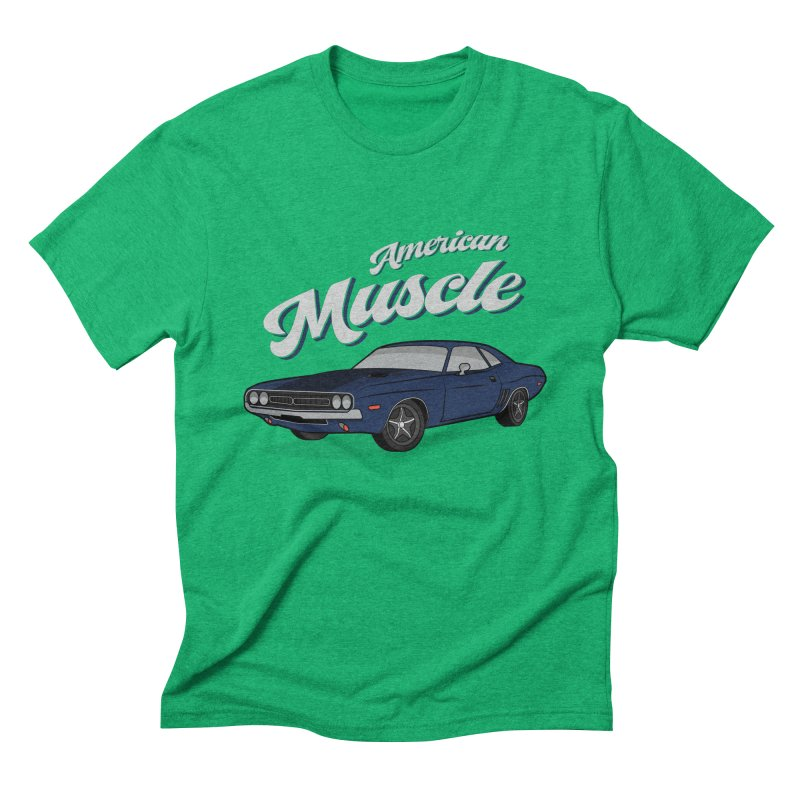 American Muscle Car 60s 70s Vintage in Men's Triblend T-Shirt Tri-Kelly by MadeByBono