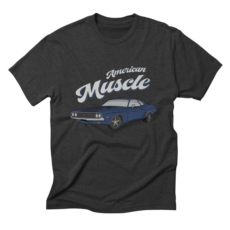 American Muscle Car 60s 70s Vintage in Men's Triblend T-Shirt Heather Onyx by MadeByBono