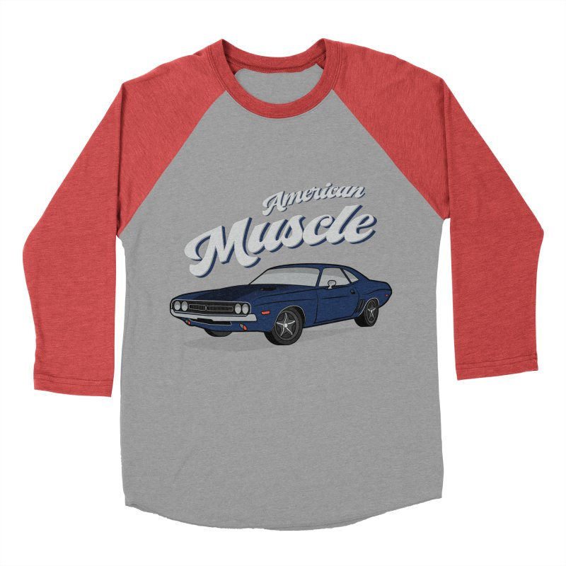 American Muscle Car 60s 70s Vintage T-shirt Women's Baseball Triblend Longsleeve T-Shirt by MadeByBono