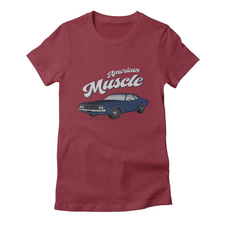 American Muscle Car 60s 70s Vintage Women's Fitted T-Shirt by MadeByBono