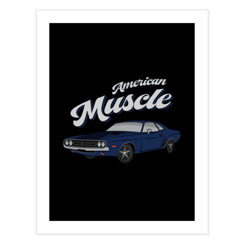 American Muscle Car 60s 70s Vintage T-shirt Home Fine Art Print by Made By Bono