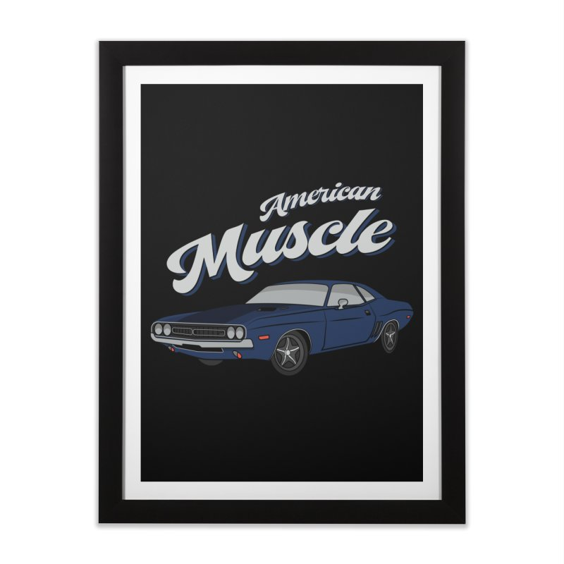 American Muscle Car 60s 70s Vintage Home Framed Fine Art Print by MadeByBono