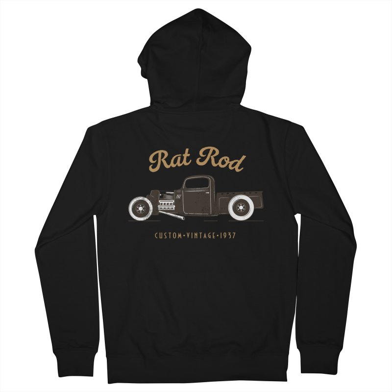 Rat Rod Vintage Hot Rod Men's French Terry Zip-Up Hoody by MadeByBono