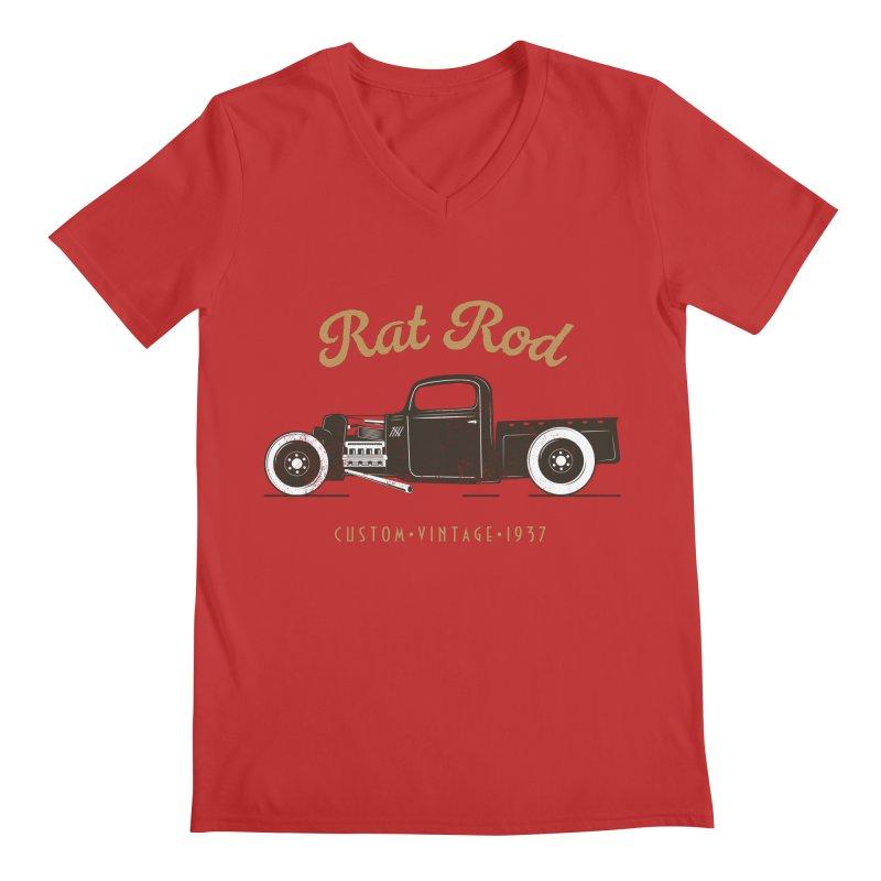 Rat Rod Vintage Hot Rod Men's Regular V-Neck by MadeByBono