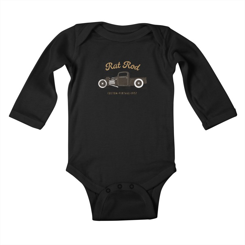 Rat Rod Vintage Hot Rod Kids Baby Longsleeve Bodysuit by MadeByBono
