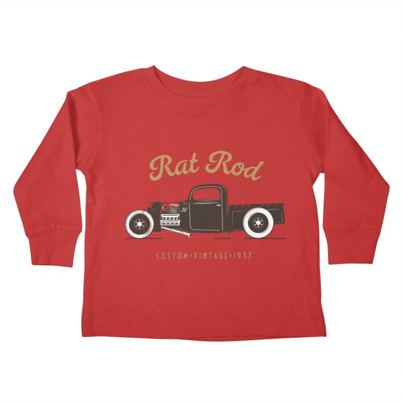 Rat Rod Vintage Hot Rod T-shirt Kids Toddler Longsleeve T-Shirt by MadeByBono