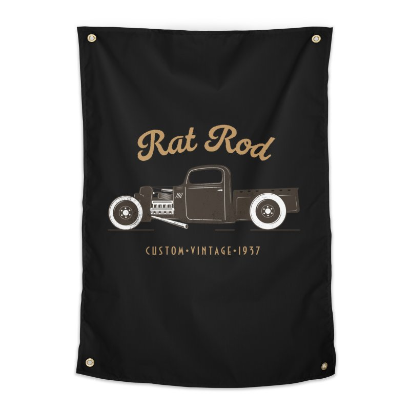 Rat Rod Vintage Hot Rod Home Tapestry by MadeByBono