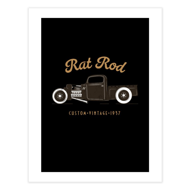 Rat Rod Vintage Hot Rod T-shirt Home Fine Art Print by Made By Bono