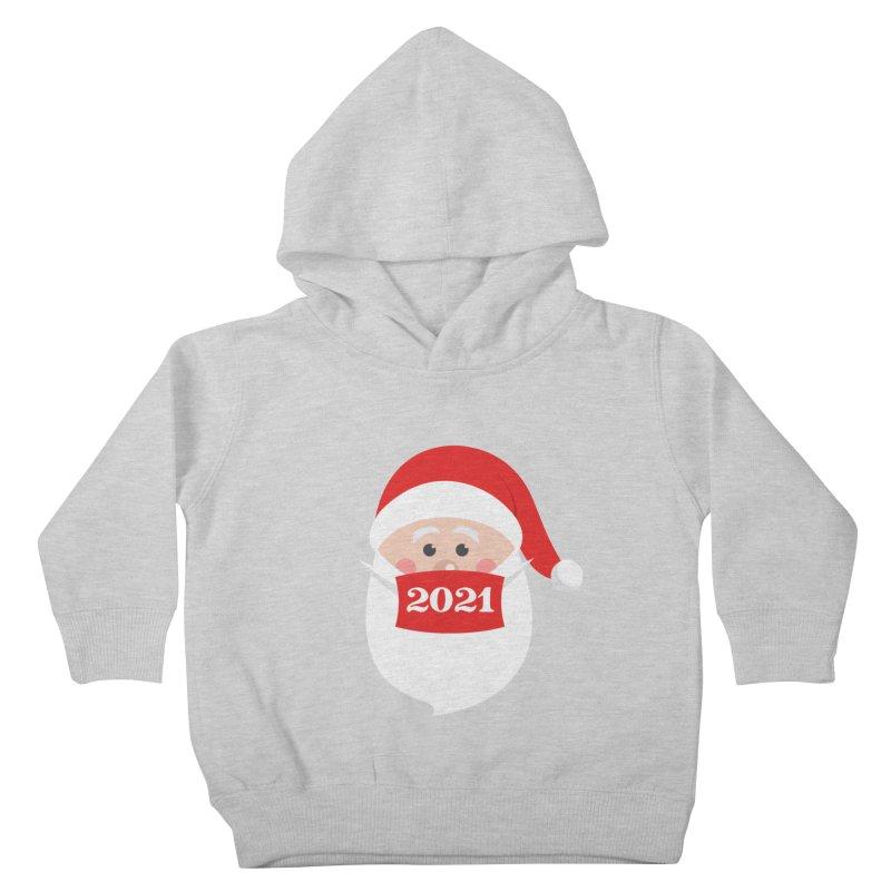 Santa Wearing Mask - Quarantine Christmas 2021 Kids Toddler Pullover Hoody by Made By Bono