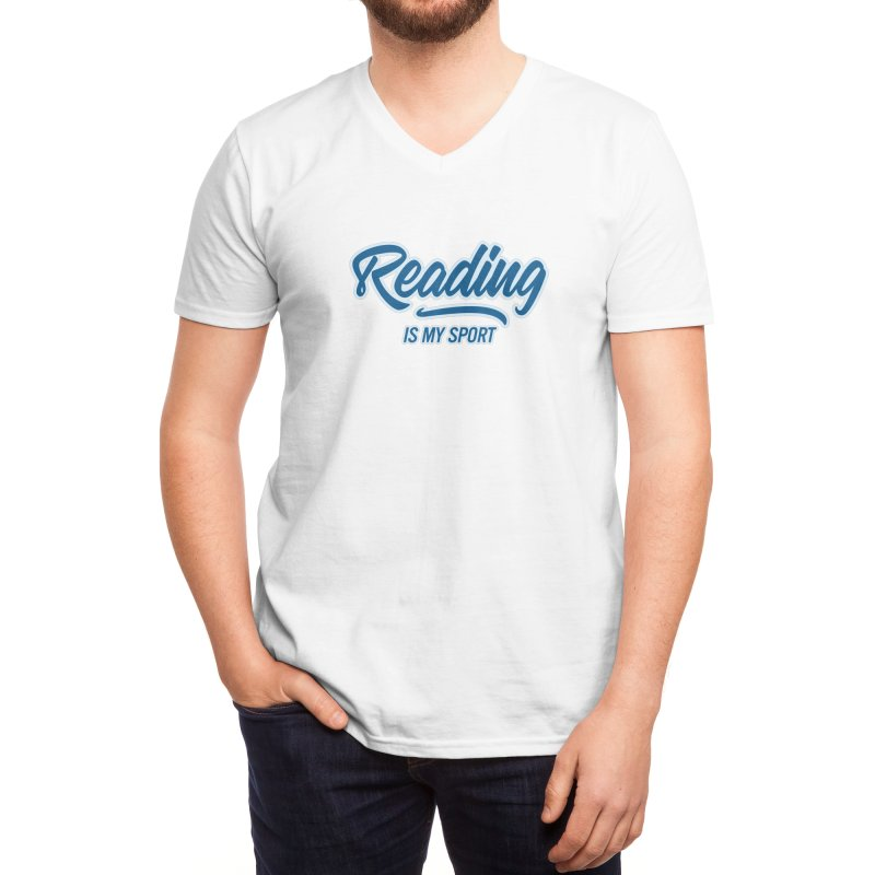 Reading Is My Sport Book Lover Read Teacher Gift T-Shirt Men's V-Neck by Made By Bono