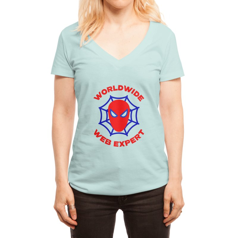 Worldwide Web Expert Funny T-shirt Women's V-Neck by Made By Bono