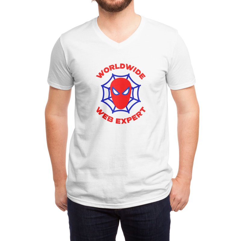 Worldwide Web Expert Funny T-shirt Men's V-Neck by Made By Bono