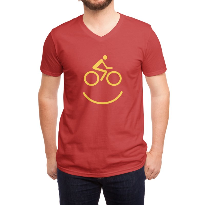 Bike Smiley Face Funny Cycling T-shirt Men's V-Neck by Made By Bono