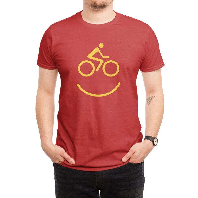 Bike Smiley Face Funny Cycling T-shirt Men's T-Shirt by Made By Bono