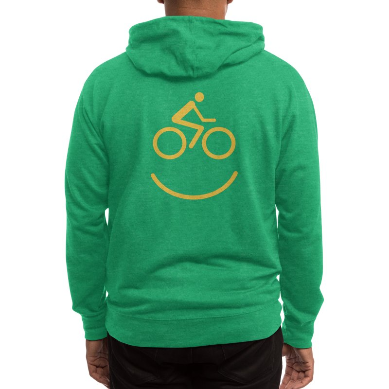 Bike Smiley Face Funny Cycling T-shirt Men's Zip-Up Hoody by Made By Bono