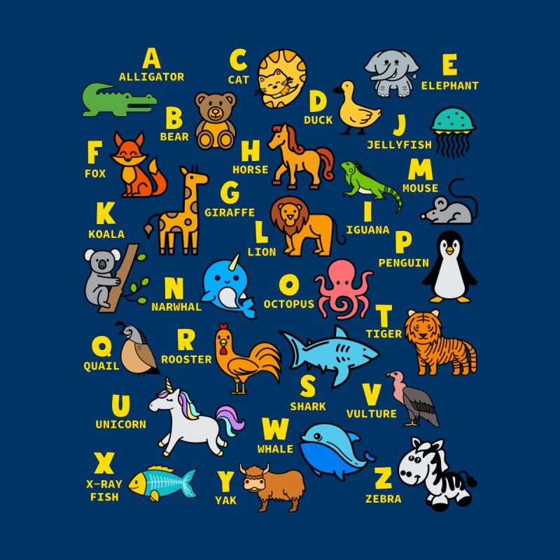 Alphabet Animal ABCs Learning T-shirt Women's T-Shirt by Made By Bono