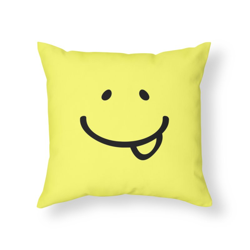 Smile Be Happy T-shirt Funny Smiley Face, Happiness Tee Home Throw Pillow by MadeByBono