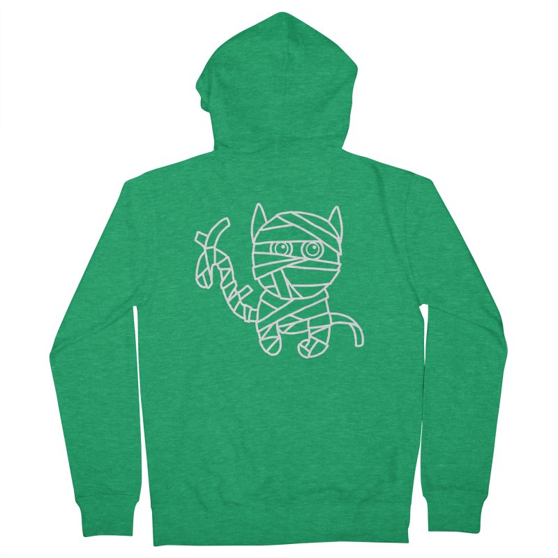 Mummy Cat Funny Halloween T-shirt Men's French Terry Zip-Up Hoody by MadeByBono