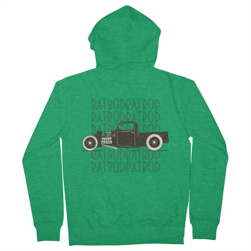 Rat Rod Hot Rod T-shirt Men's Zip-Up Hoody by MadeByBono