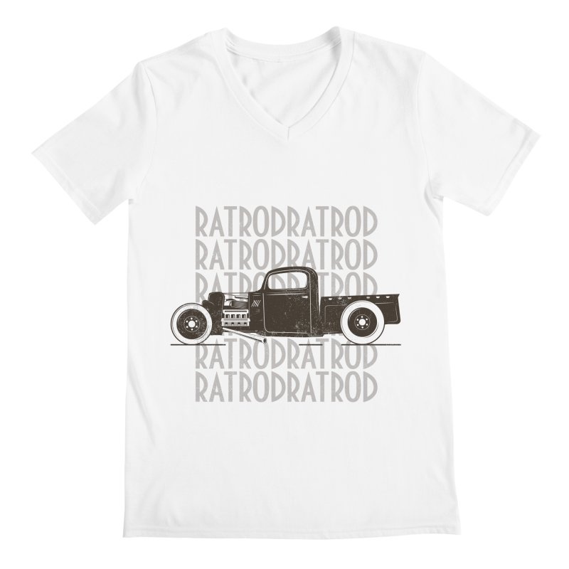 Rat Rod Hot Rod T-shirt Men's Regular V-Neck by MadeByBono