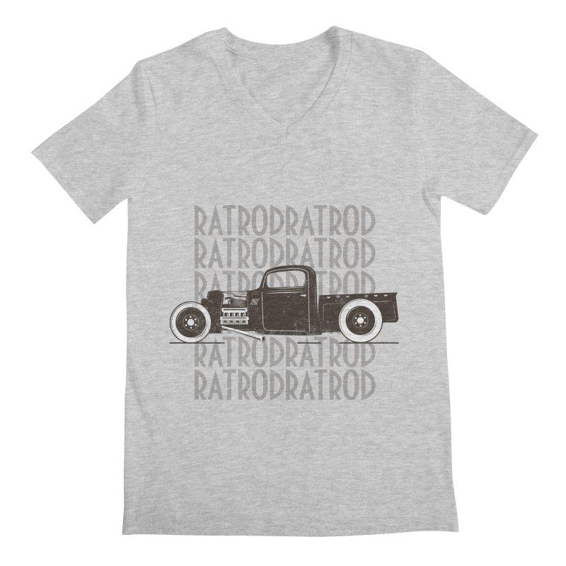 Rat Rod Hot Rod T-shirt Men's Regular V-Neck by MadeByBono