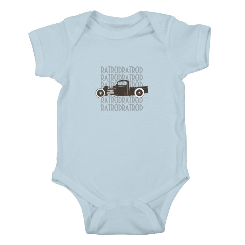 Rat Rod Hot Rod T-shirt Kids Baby Bodysuit by MadeByBono