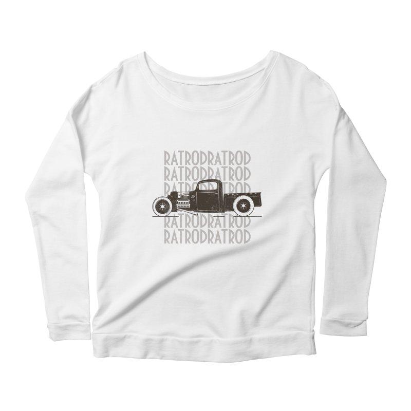 Rat Rod Hot Rod T-shirt Women's Scoop Neck Longsleeve T-Shirt by MadeByBono