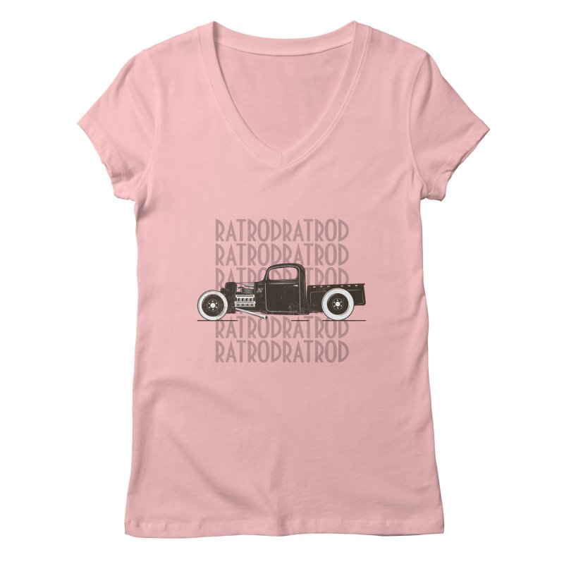 Rat Rod Hot Rod T-shirt Women's Regular V-Neck by MadeByBono