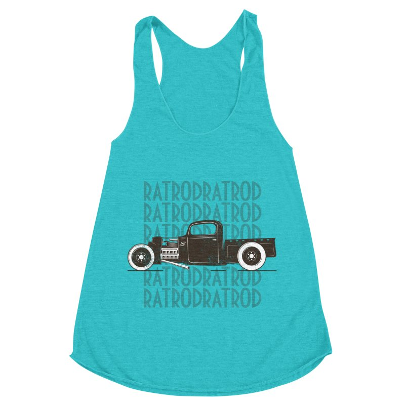 Rat Rod Hot Rod T-shirt Women's Racerback Triblend Tank by MadeByBono