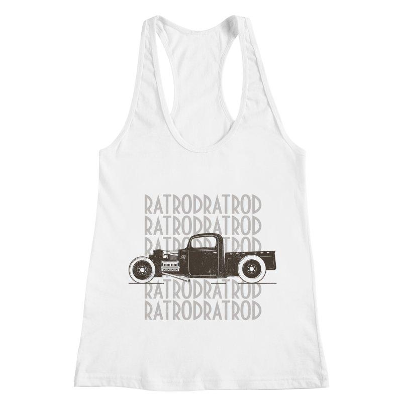 Rat Rod Hot Rod T-shirt Women's Racerback Tank by MadeByBono