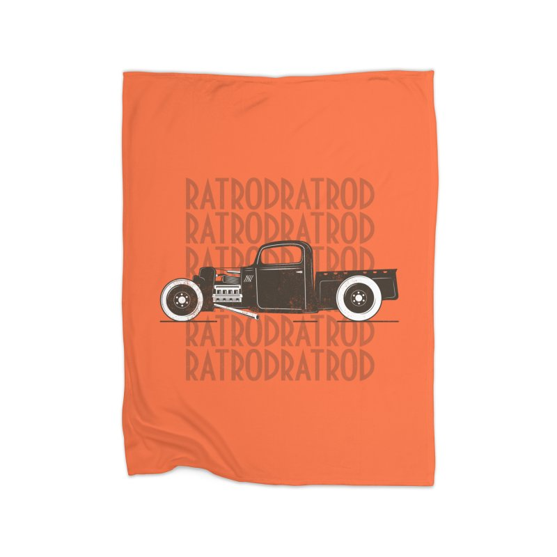 Rat Rod Hot Rod T-shirt Home Fleece Blanket Blanket by MadeByBono