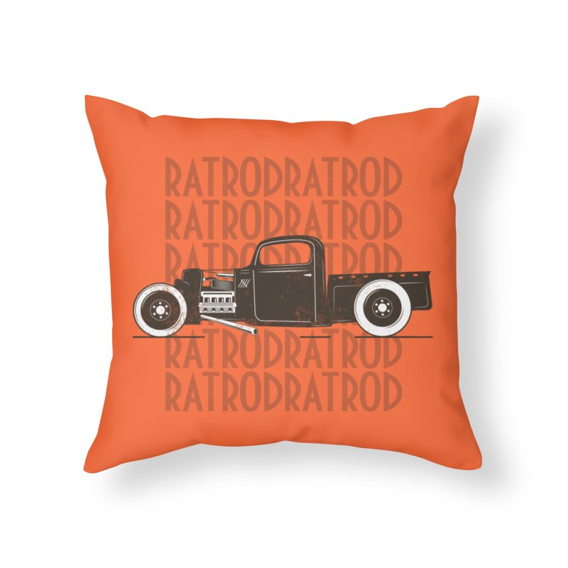 Rat Rod Hot Rod T-shirt Home Throw Pillow by MadeByBono
