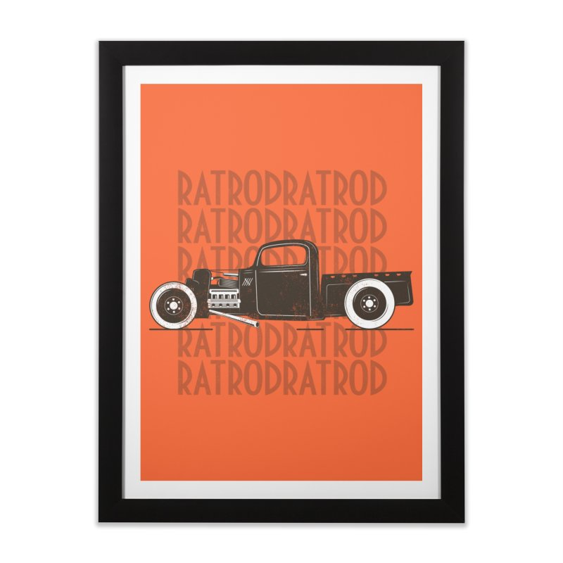 Rat Rod Hot Rod T-shirt Home Framed Fine Art Print by MadeByBono