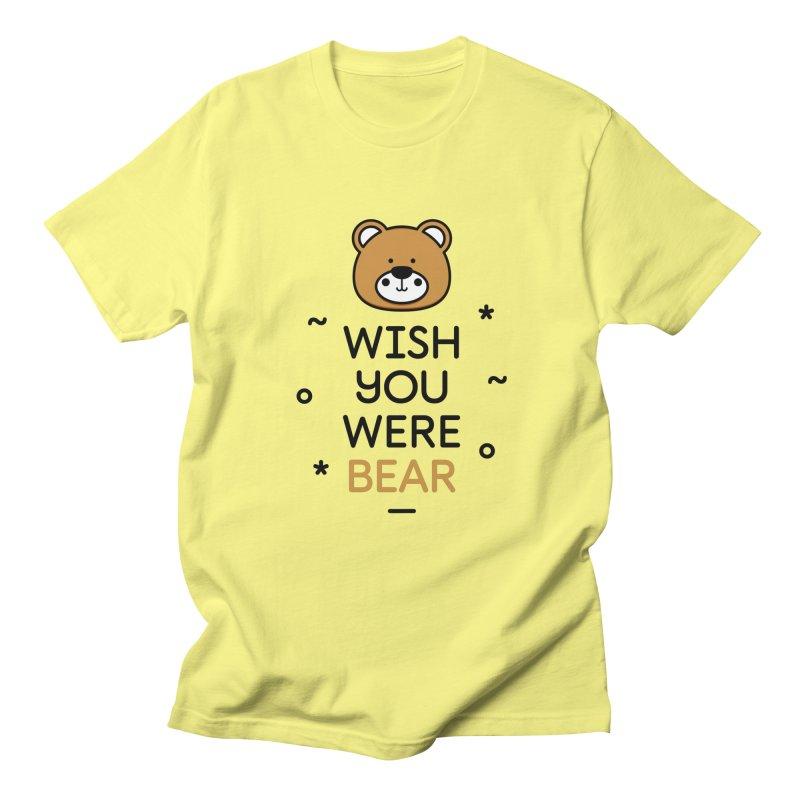 Wish You Were Bear Funny Quote T-Shirt in Men's Regular T-Shirt Lemon by MadeByBono