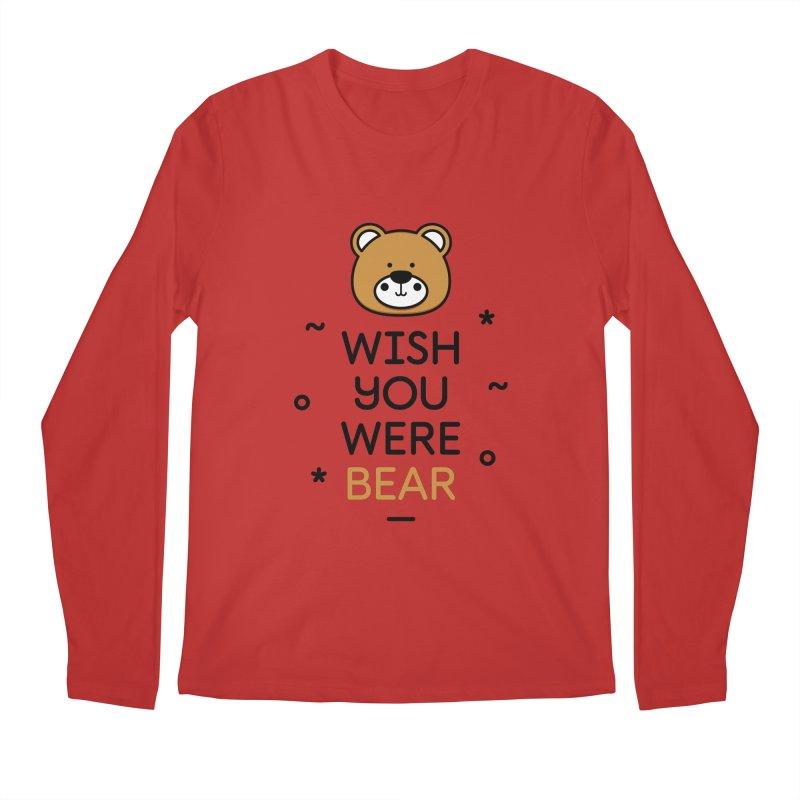 Wish You Were Bear Funny Quote T-Shirt Men's Regular Longsleeve T-Shirt by MadeByBono