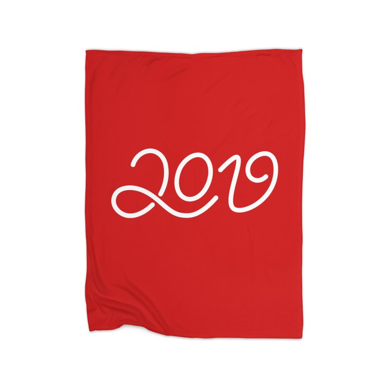 Happy New Year 2019 T-shirt LOV T-shirt Home Fleece Blanket Blanket by MadeByBono