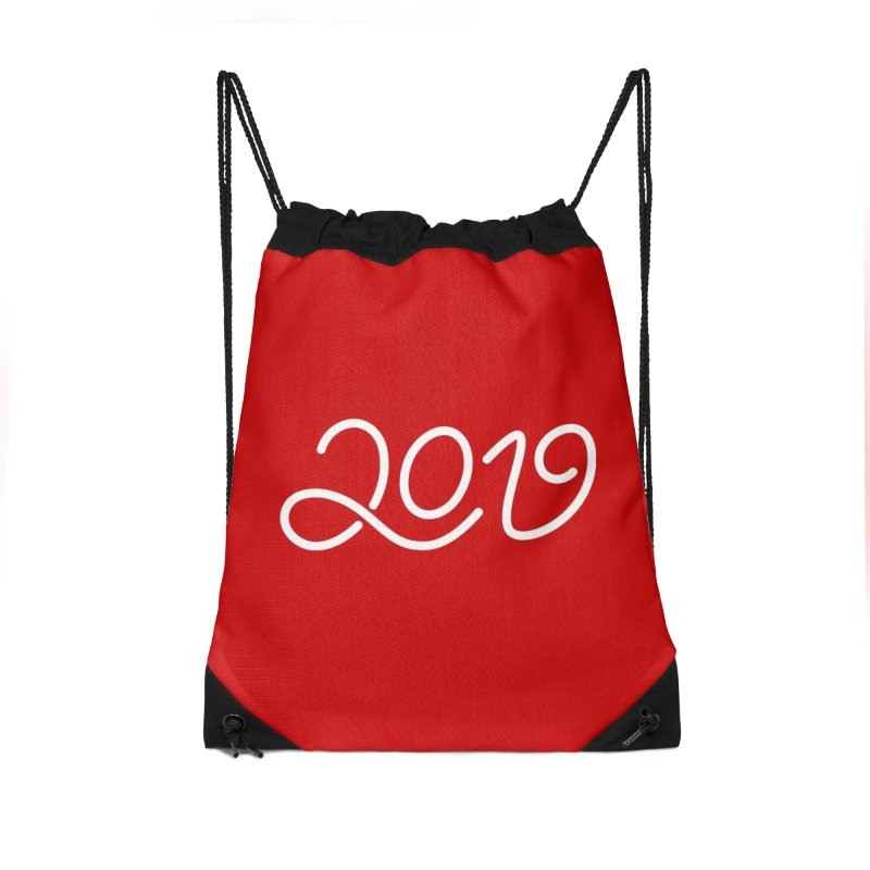 Happy New Year 2019 T-shirt LOV T-shirt Accessories Drawstring Bag Bag by MadeByBono