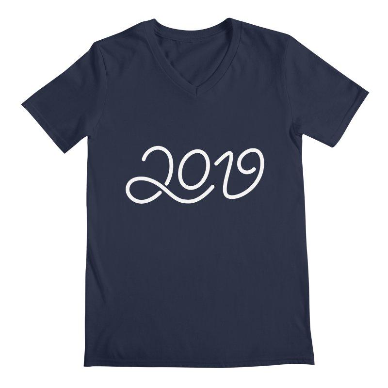 Happy New Year 2019 T-shirt LOV T-shirt Men's Regular V-Neck by MadeByBono