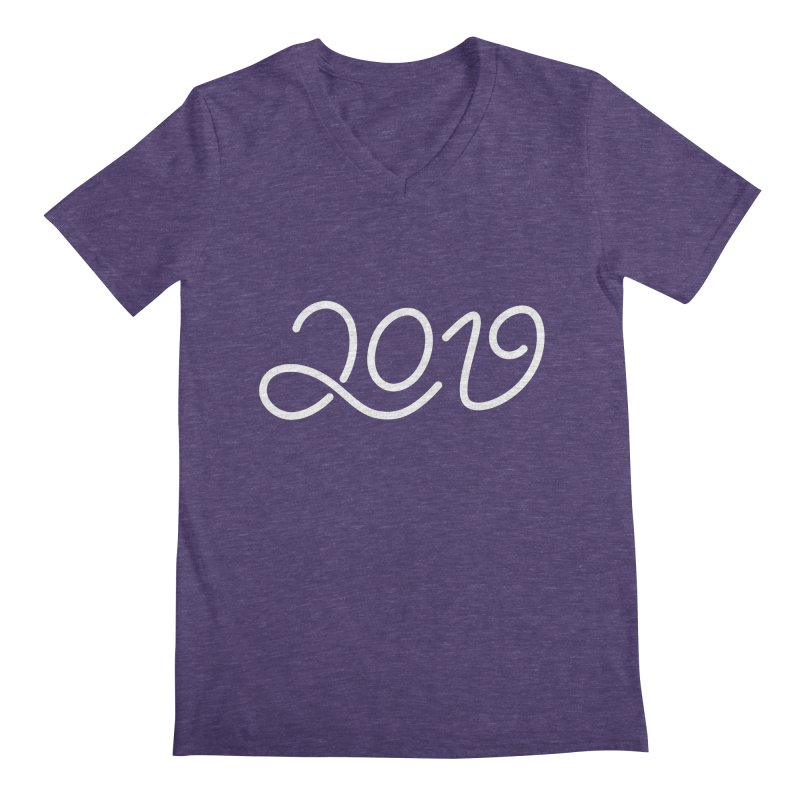 Happy New Year 2019 T-shirt LOV T-shirt Men's Regular V-Neck by MadeByBono
