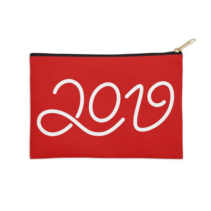 Happy New Year 2019 T-shirt LOV T-shirt Accessories Zip Pouch by MadeByBono