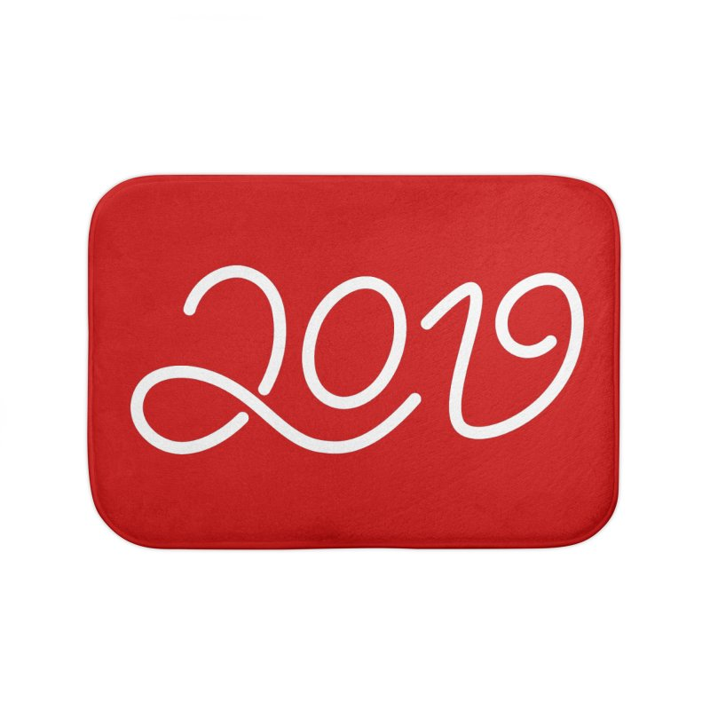 Happy New Year 2019 T-shirt LOV T-shirt Home Bath Mat by MadeByBono
