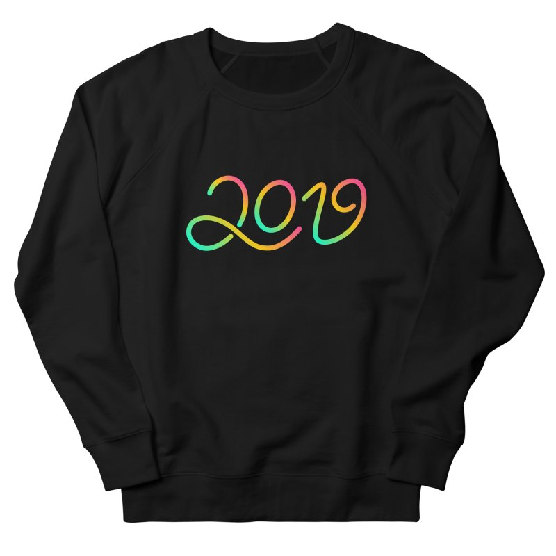 Happy New Year 2019 T-shirt LOV T-shirt in Men's French Terry Sweatshirt Black by MadeByBono