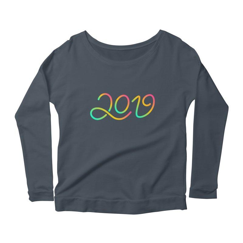 Happy New Year 2019 T-shirt LOV T-shirt Women's Scoop Neck Longsleeve T-Shirt by MadeByBono