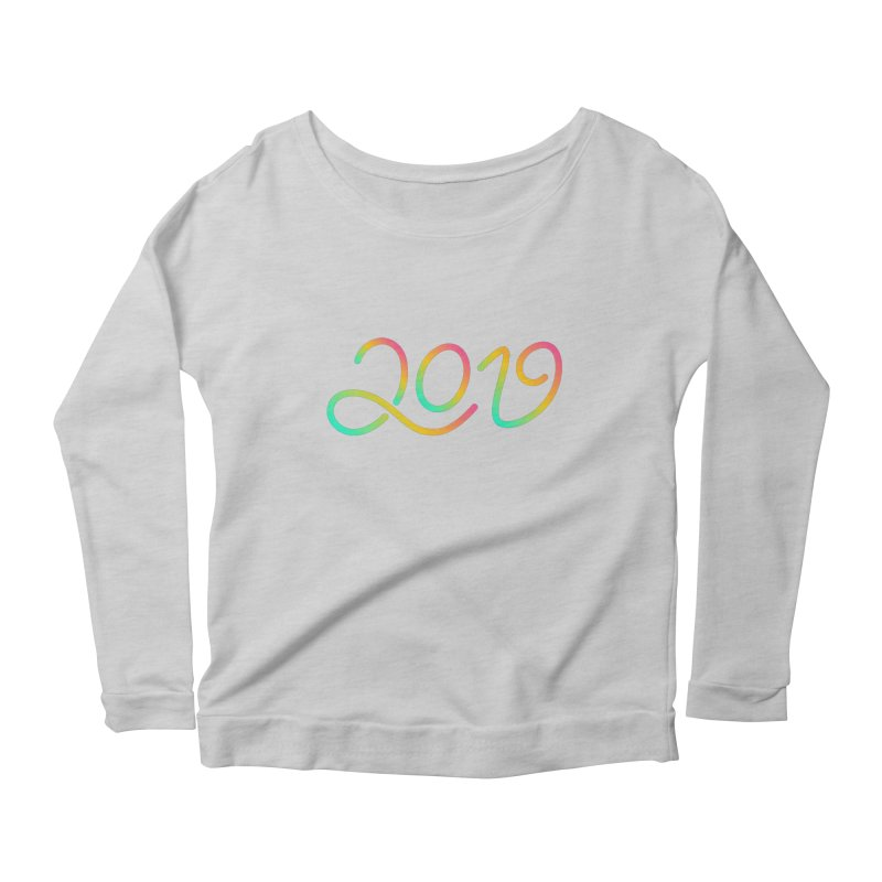 Happy New Year 2019 T-shirt LOV T-shirt Women's Scoop Neck Longsleeve T-Shirt by MadeByBono