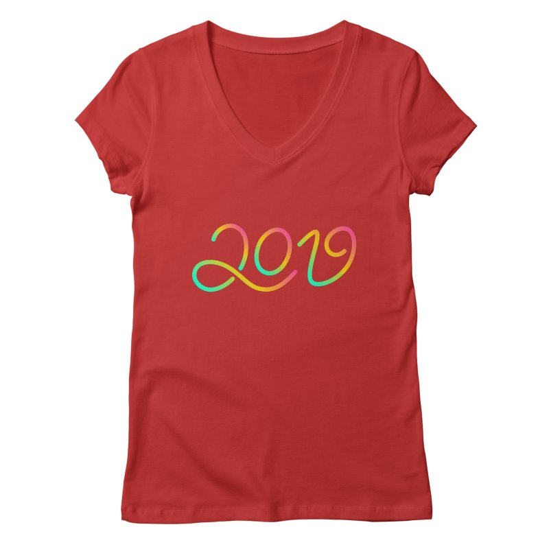 Happy New Year 2019 T-shirt LOV T-shirt Women's Regular V-Neck by MadeByBono