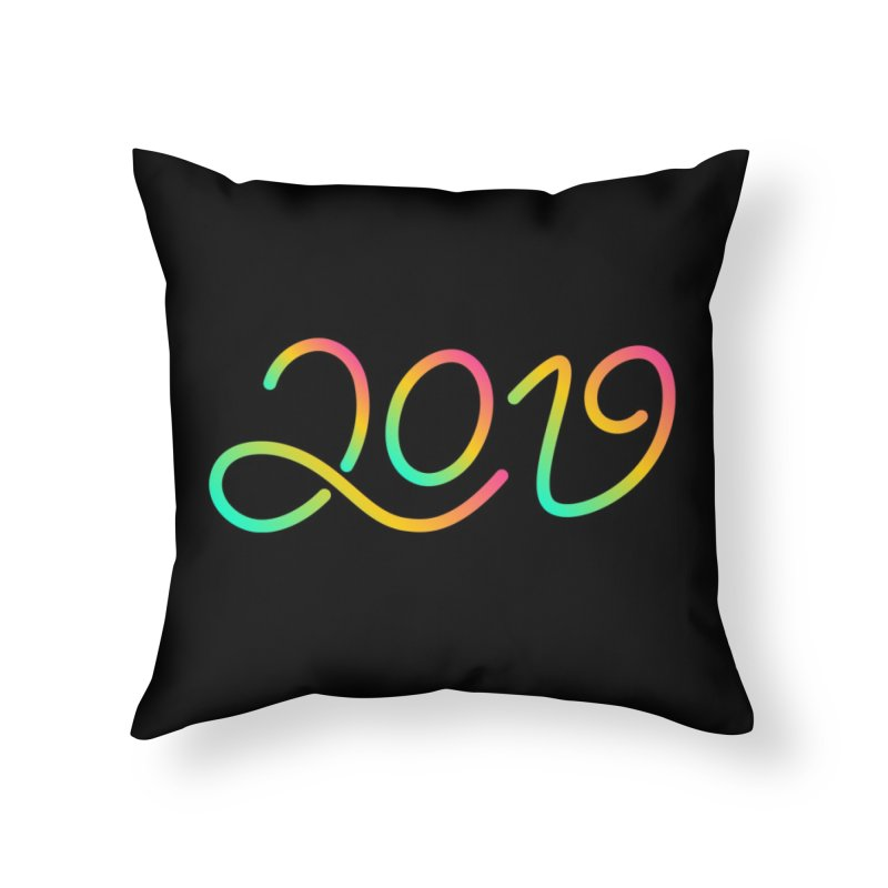 Happy New Year 2019 T-shirt LOV T-shirt Home Throw Pillow by MadeByBono