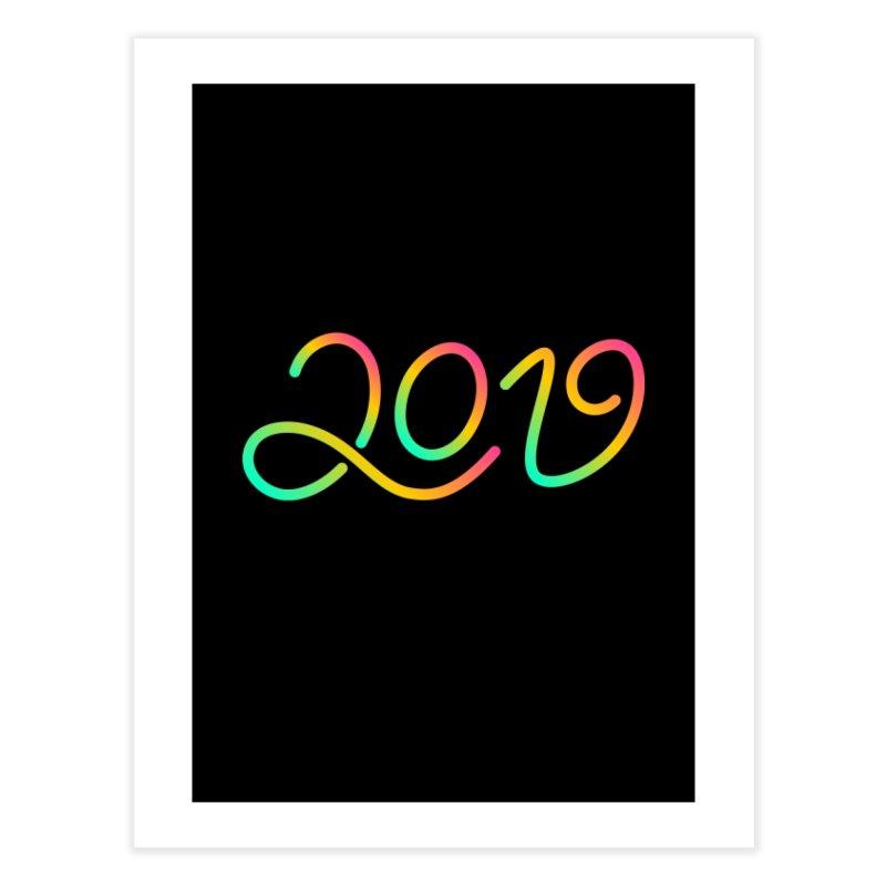Happy New Year 2019 T-shirt LOV T-shirt Home Fine Art Print by MadeByBono