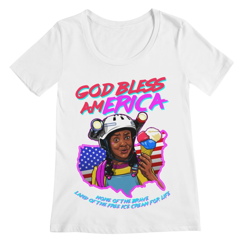 God Bless amERICA! Women's Regular Scoop Neck by Made With Awesome