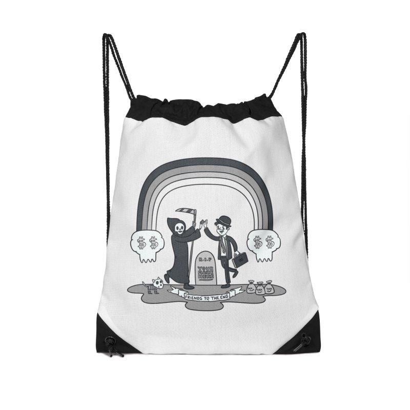 Death and Taxes Accessories Drawstring Bag Bag by Made With Awesome